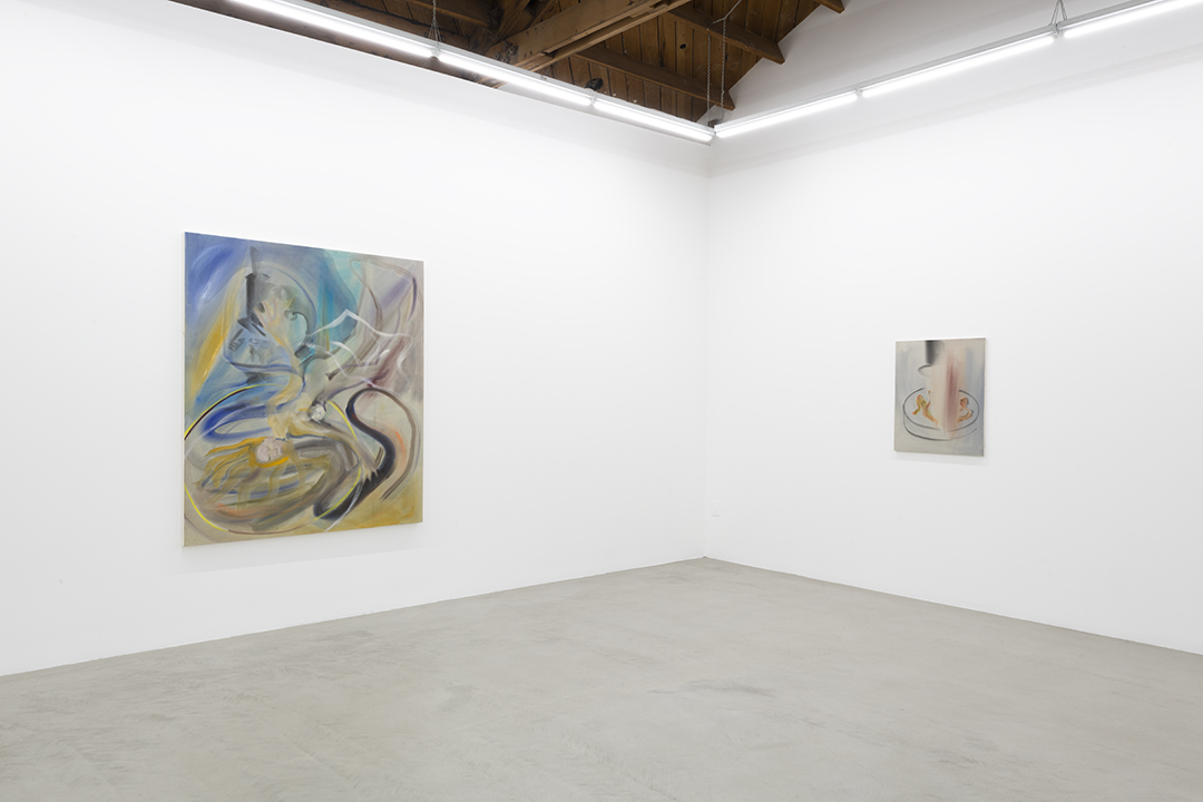 Installation view of two of Sophie von Hellermann's paintings, the first of a woman, Petra, falling with blond hair strewn about, the second a blurry couple engaged in sexual activity in a petri dish