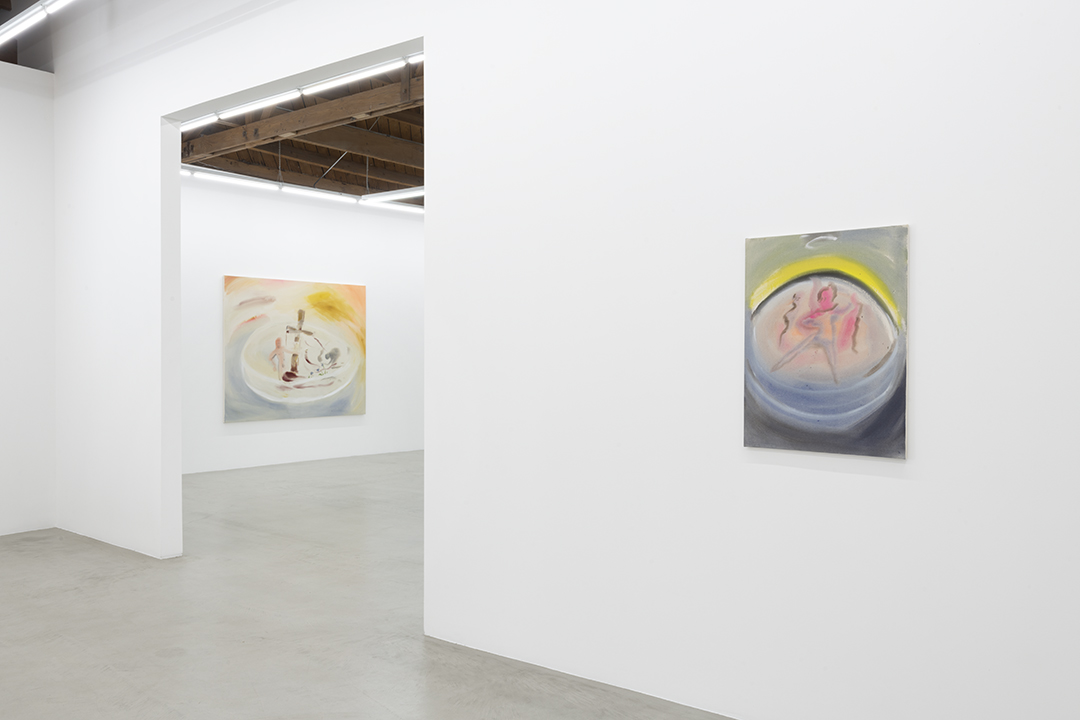Installation view of two of Sophie von Hellermann's flowing paintings, the work on the left resembling a naked Christ bleeding, a cross and a mourner and the one of the right a ballerina dancing