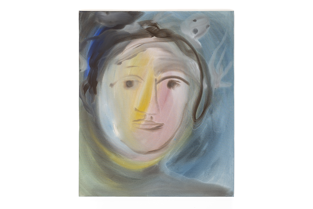 Sophie von Hellermann's abstract painting of a portrait with a ghost like figure above the head