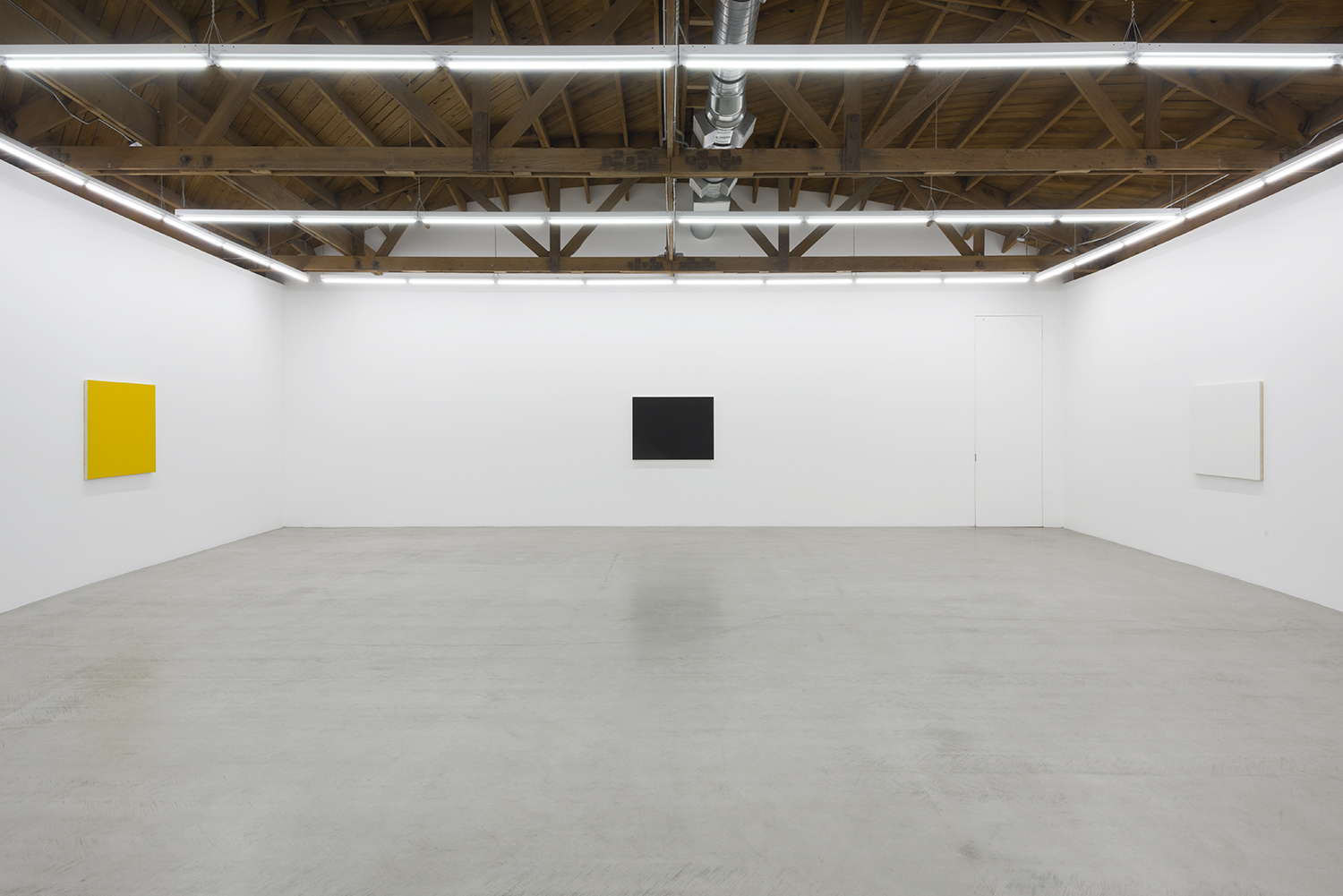 Installation view three of Edith Baumann's monochrome paintings, yellow, black and white
