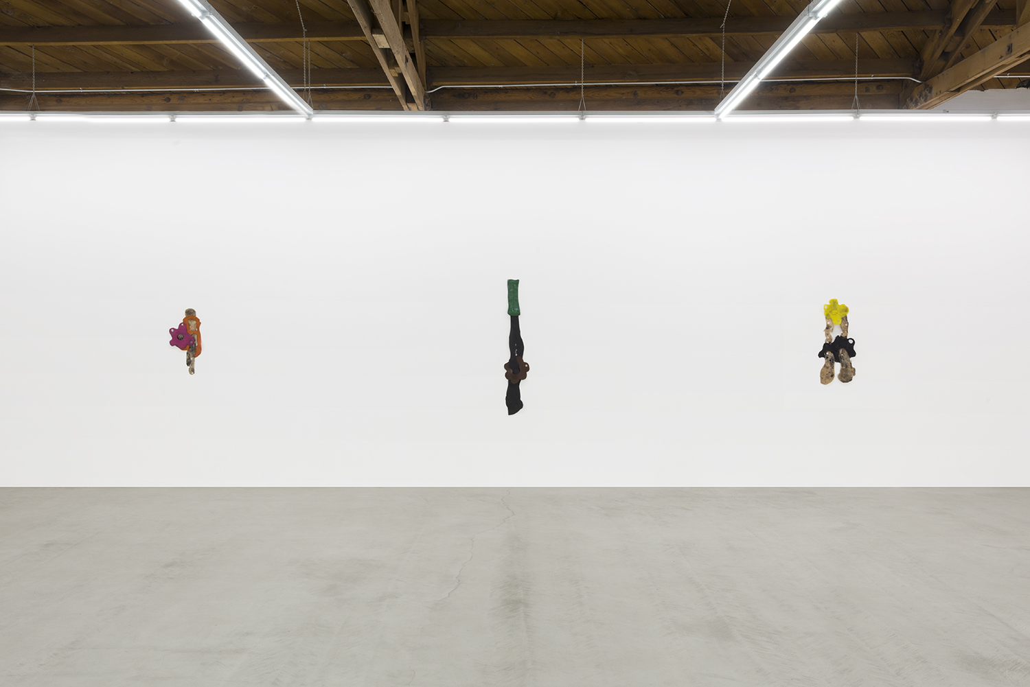 Copy of Installation view of three of Sara Gernsbacher's abstract sculpture made of silicone and acrylic paint.