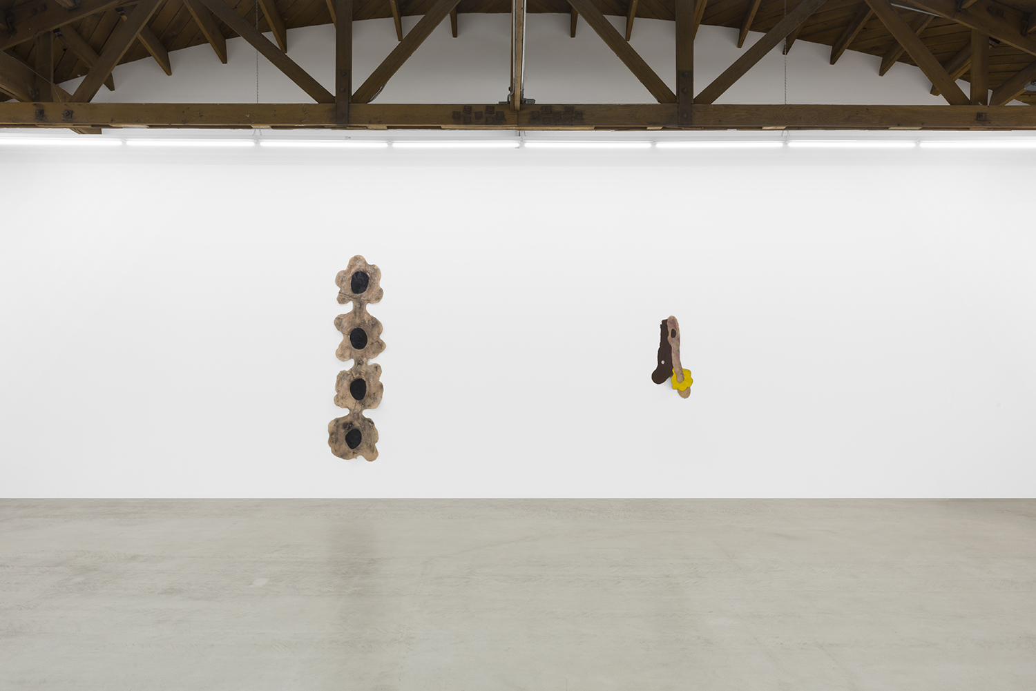 Copy of Installation view of two Sara Gernsbacher's abstract sculpture made of silicone and acrylic paint