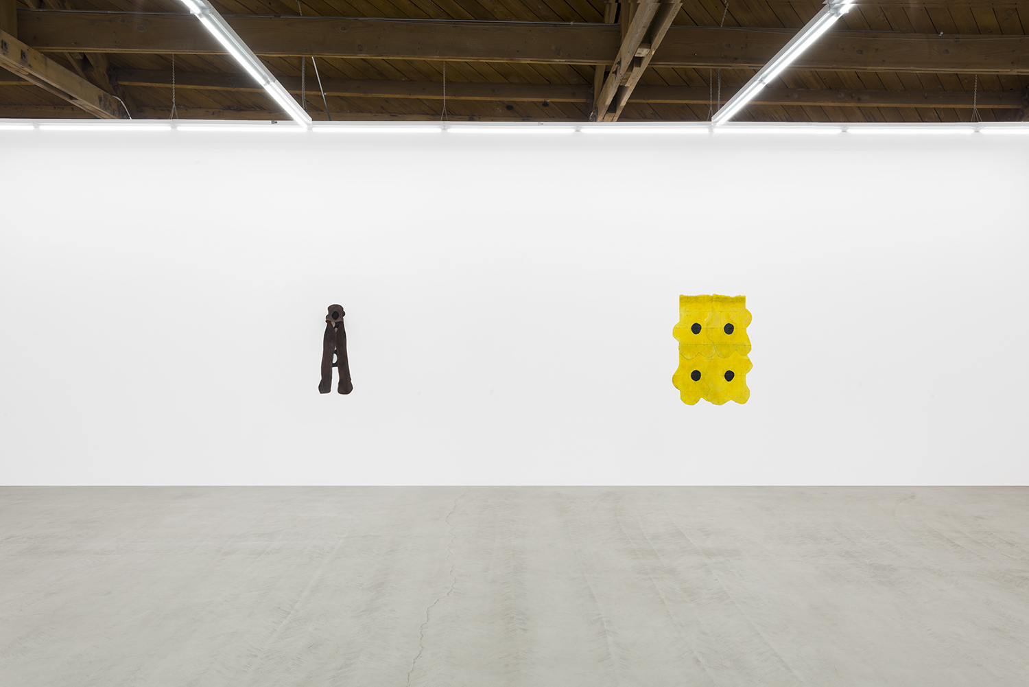 Copy of Installation view of two of Sara Gernsbacher's abstract sculpture made of silicone and acrylic paint