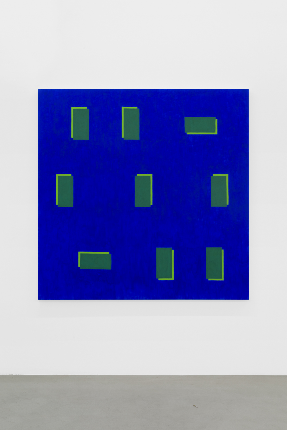 Edith Baumann  Pattern Recognition #17 , 2018 ground pigment and acrylic on canvas 69 x 69 inches