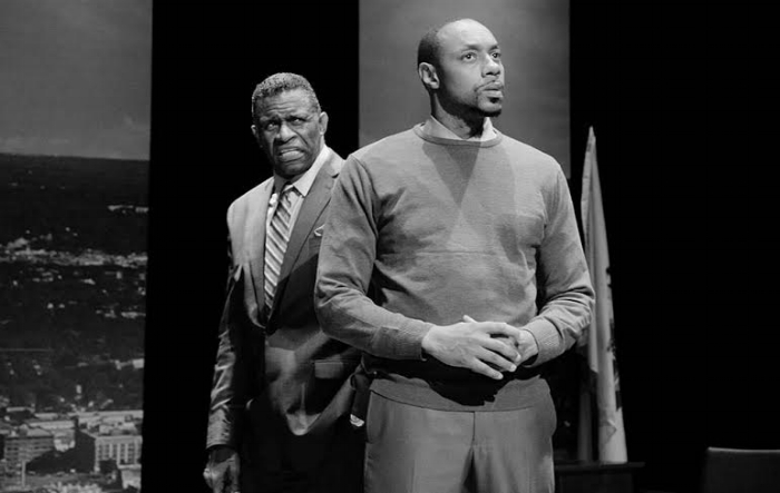 Photography: Hollis King;  Left:Jerome Preston Bates as Franklyn Longley; Right:Dorian Missick as Ron Drayton