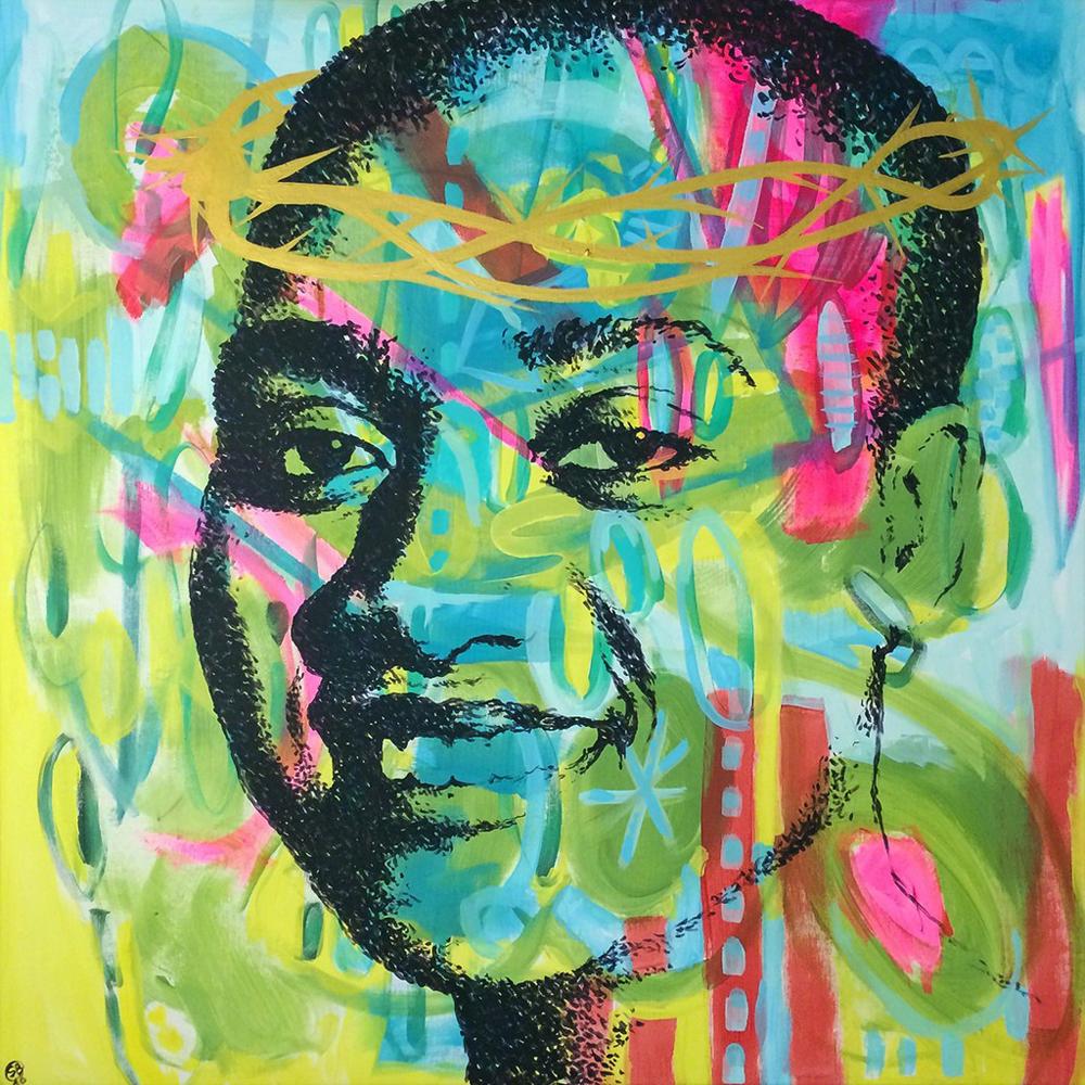 Crowned  | Sébastien Bouchard,2016 Mixed media on canvas courtesy of Artsy