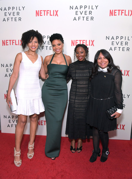 LA premiere of  Nappily Ever After . Left to right: Trisha Thomas (author of  Nappily Ever After) ; Sanaa Lathan, Tracey Bing, Haifaa al-Mansour. Photography:  Charley Gallay .
