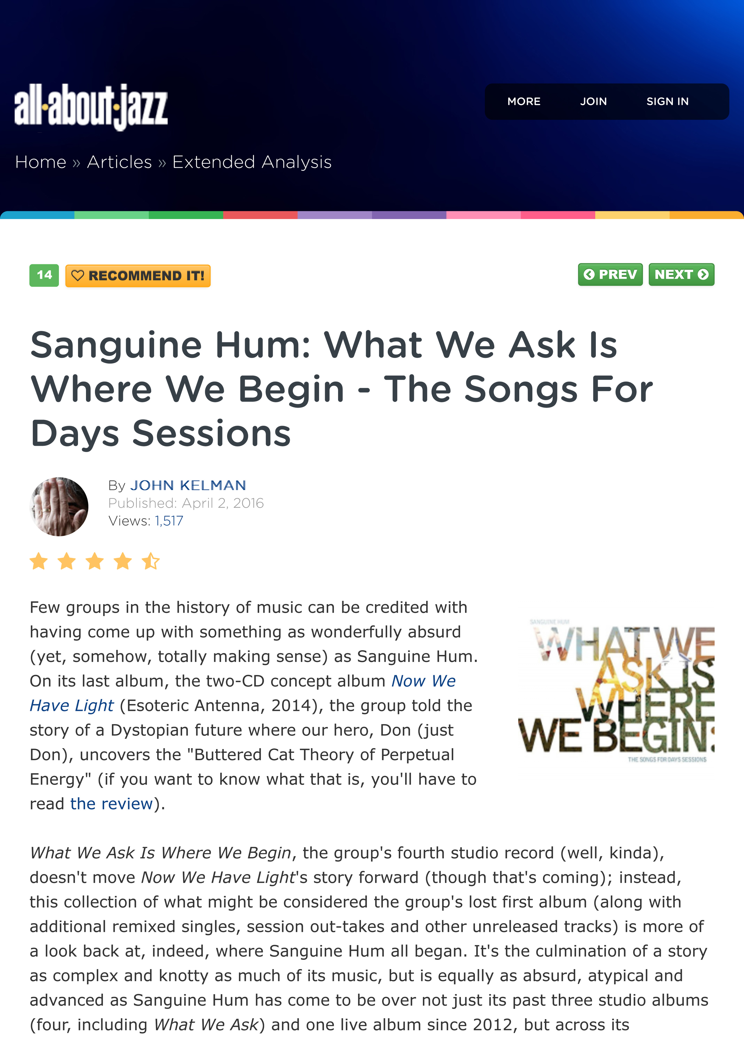 Sanguine Hum | What We Ask Is Where We Begin - John Kelman, All About Jazz April 2016
