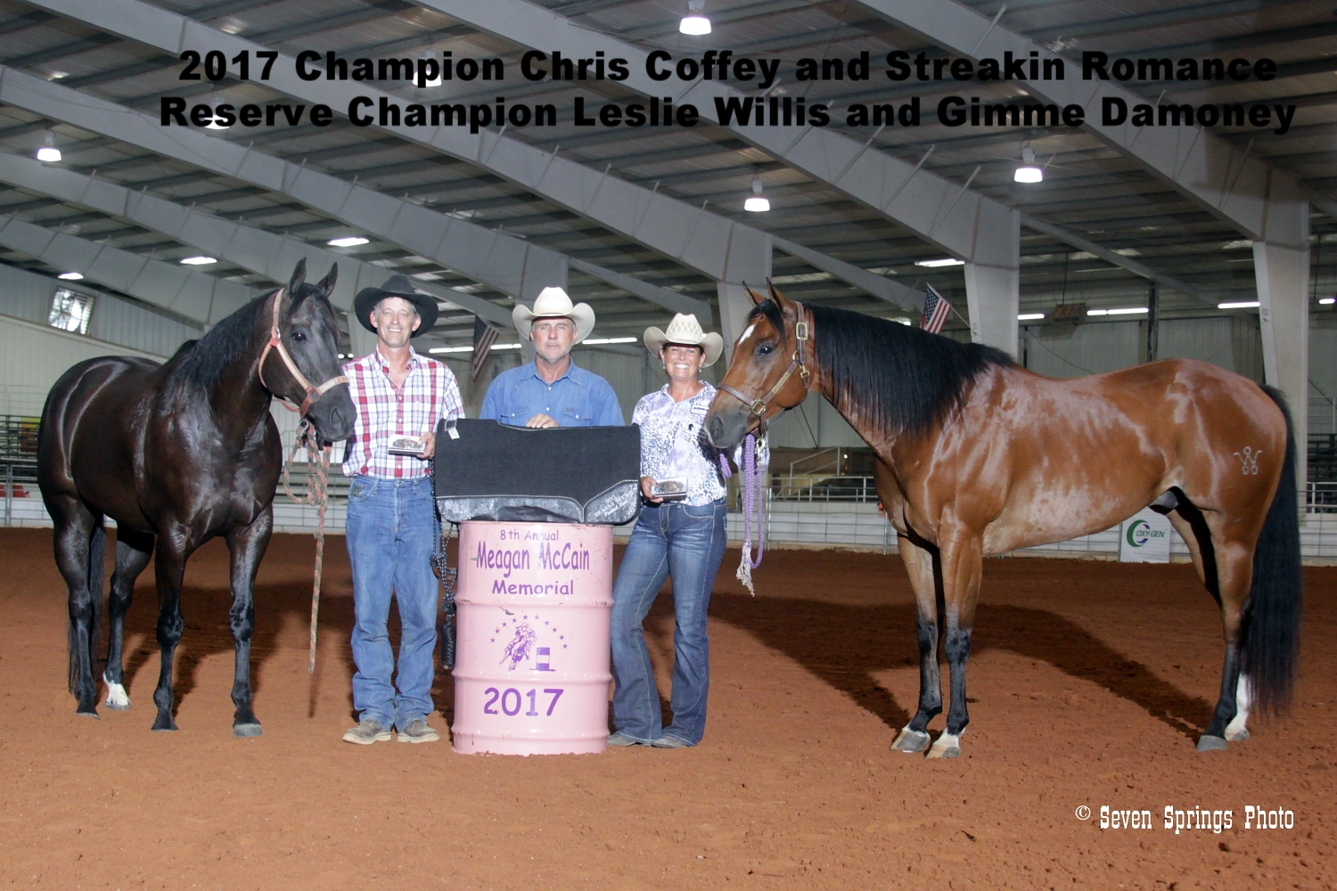 AMC Barrel and Performance Horses awarded a bronc halter to Chris Coffey, Average Champion and a saddle pad to the Leslie Willis who ran the fastest time of the weekend.