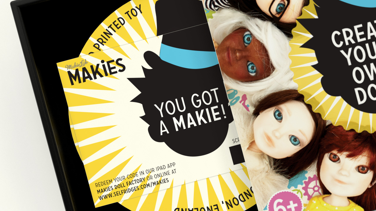 Makies packaging visual revealing the inside of the box.