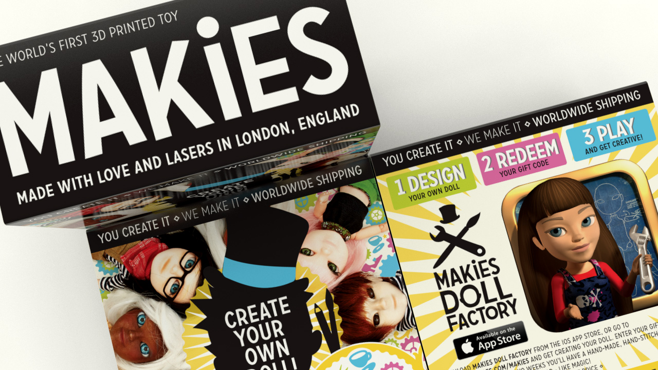 Makies packaging visual top view.