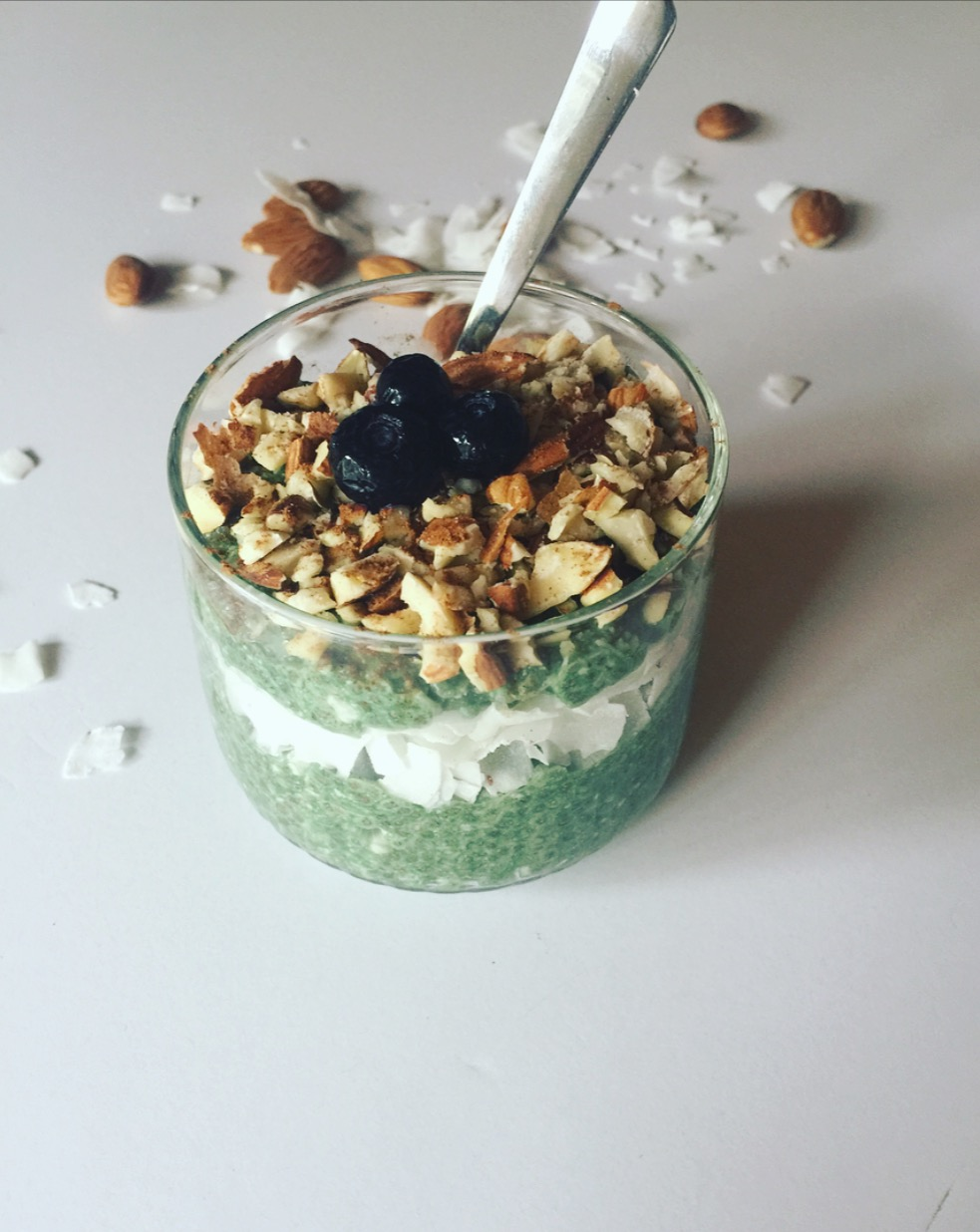Chia Pudding made with my favorite Greens Blend. Added chopped almonds, unsweetened coconut flakes and blueberries.