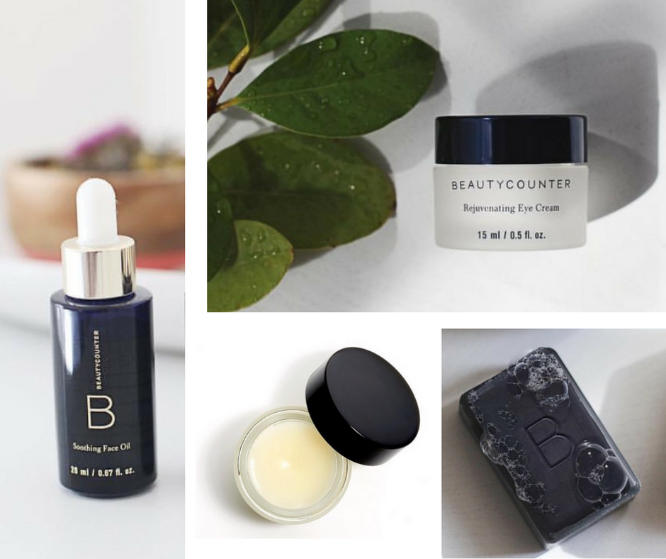 Soothing Face Oil, Rejuvenating Eye Cream, Conditioning Lip Balm in Calundula, and Purifying Charcoal Bar