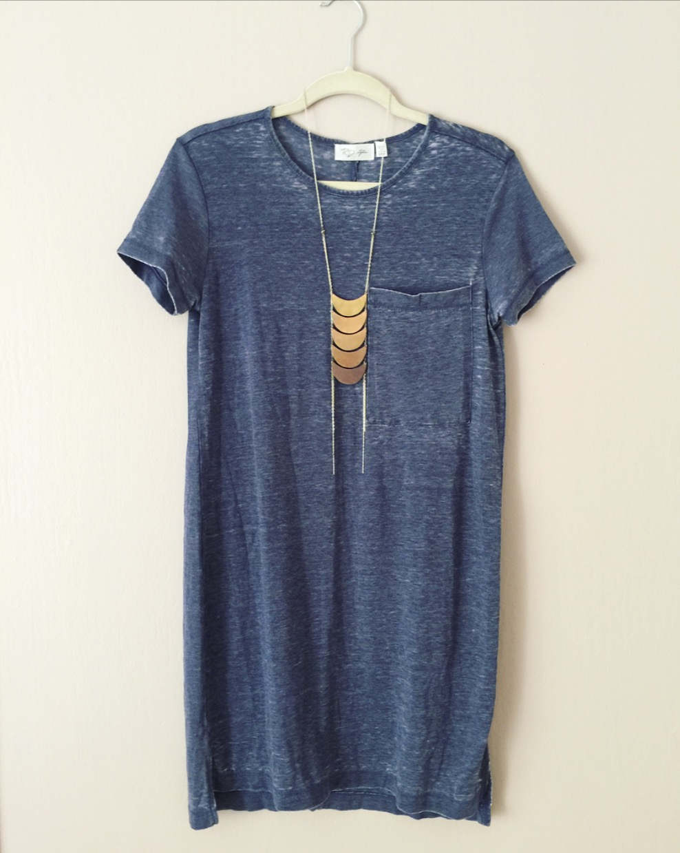 RD Style - Kel-T Shirt Dress from Stitch Fix - $58  (Necklace sold separtately, by Sahlia Jewelry in Portland, OR)