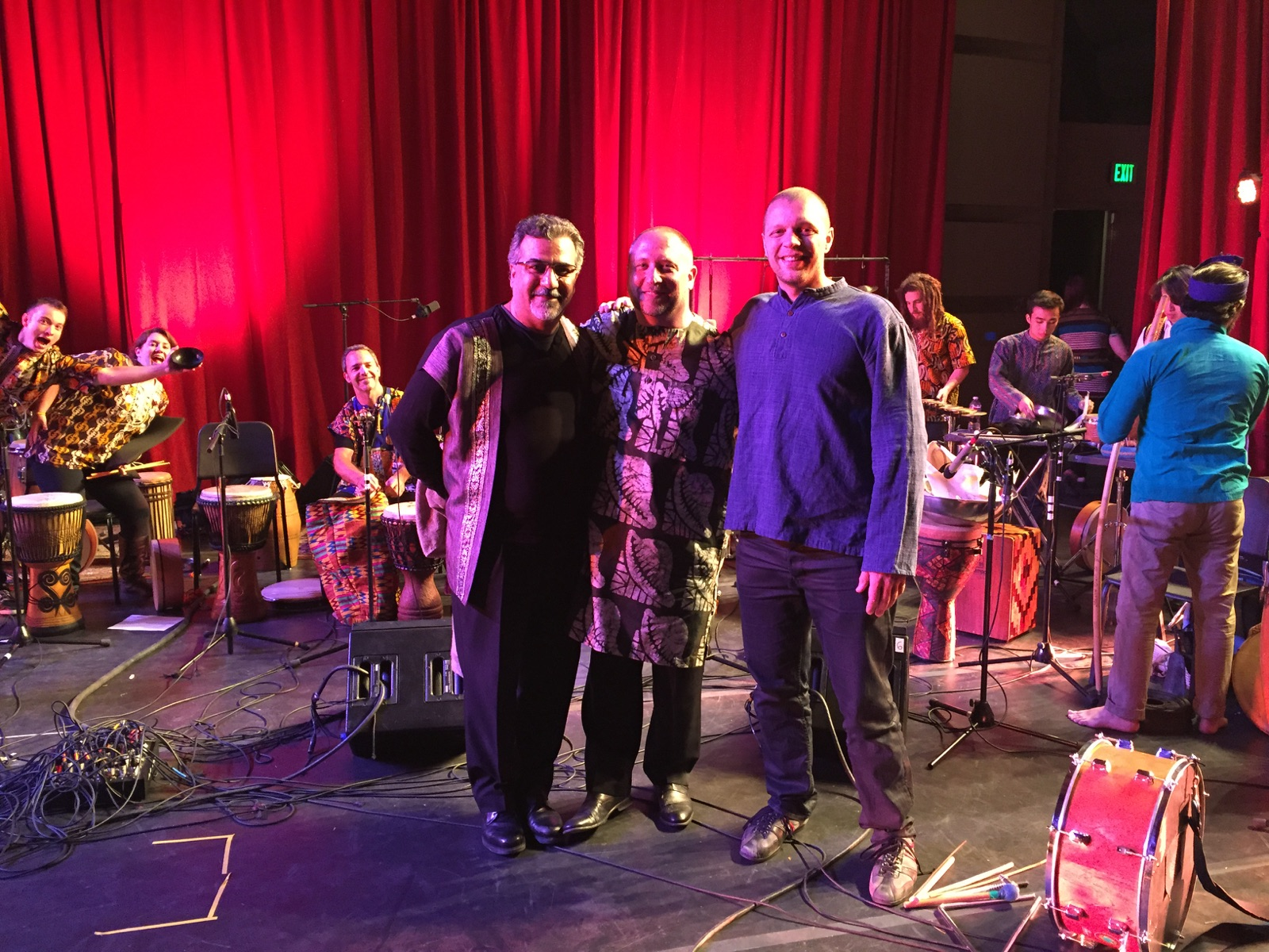 CalArts World Percussion Ensemble faculty: Houman Pourmehdi, Randy Gloss, Andrew Grueschow.  CalArts World Music and Dance Festival May 2015.