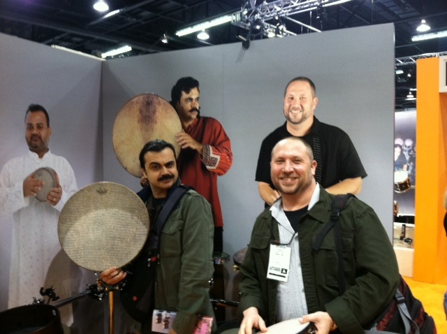 Pejman Hadadi and Randy Gloss at the Remo booth at NAMM  Anaheim CA 2012