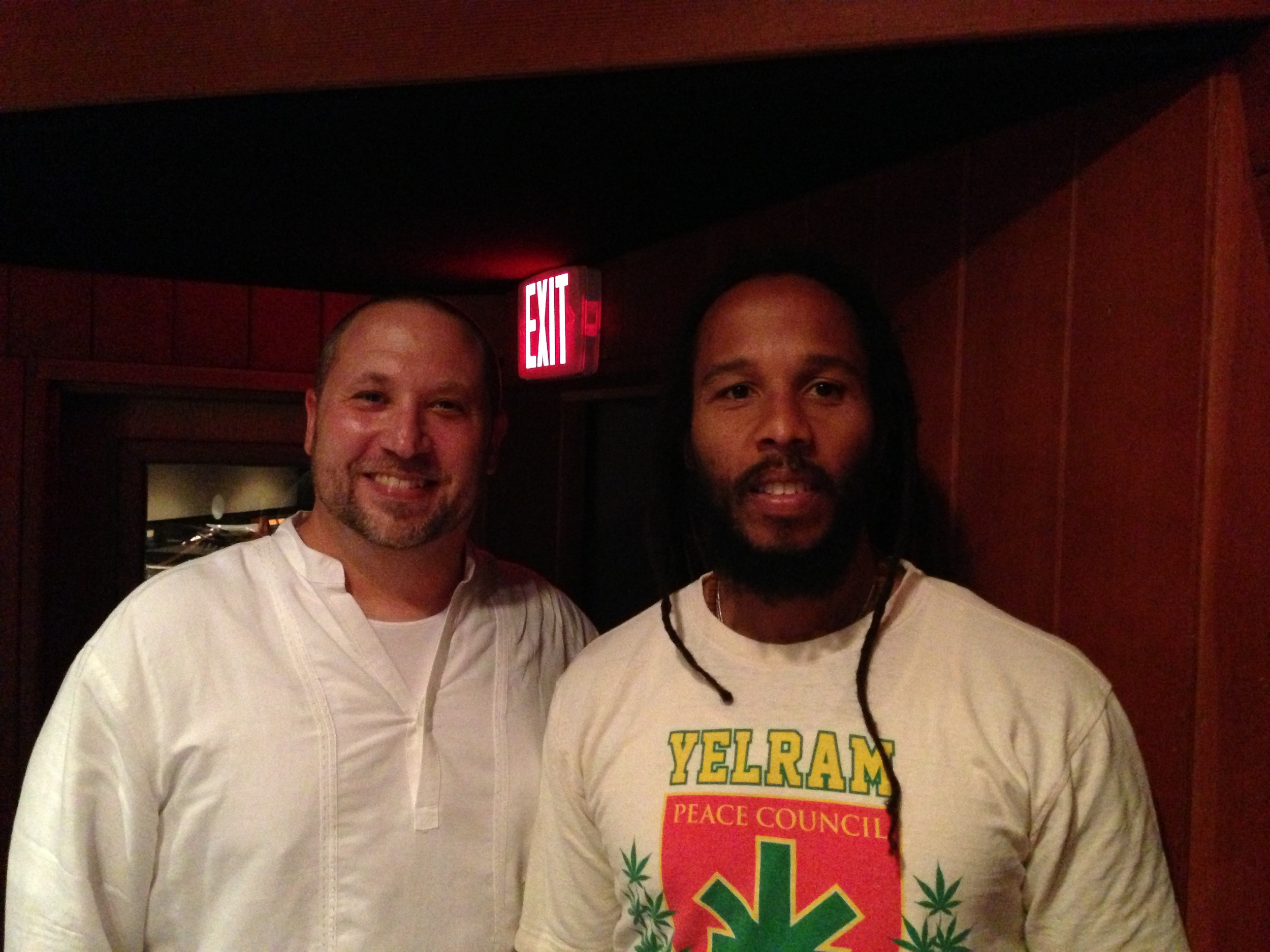 Randy Gloss and Ziggy Marley  recording percussion for Fly Rasta  Village Studios Los Angeles, CA July 2013
