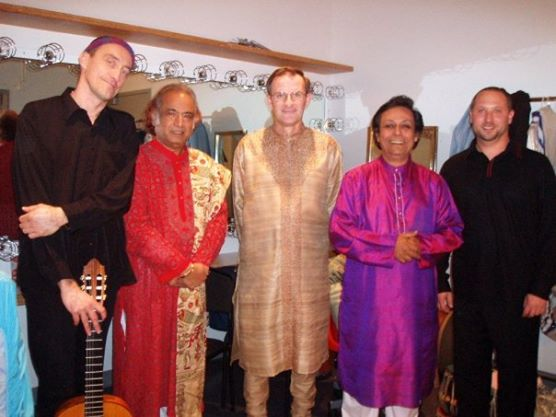 Indian crossover group backstage at REDCAT, Los Angeles, CA. March 11 th , 2006. (L-R: Miroslav Tadic, Aashish Khan, David Rosenboom, Swapan Chaudhuri, Randy).
