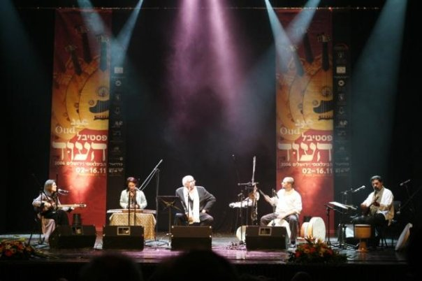 Lian Ensemble at the International Oud Festival of Jerusalem. Jerusalem Theater, Sherover Hall, November 16th, 2006. (L-R: Pirayeh Pourafar, Mashid Mirzadeh, Soleyman Veseghi, Randy Gloss, Houman Pourmehdi).