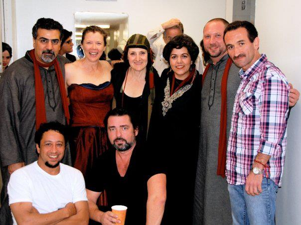 Backstage after Medea, October 2009.  (L-R bottom row: Brahim Fribgane, Angus Macfadyen.  L-R top row: Houman Pourmehdi, Annette Bening, Mary Lou Rosato, Pirayeh Pourafar, Randy Gloss, Mani Boulori).