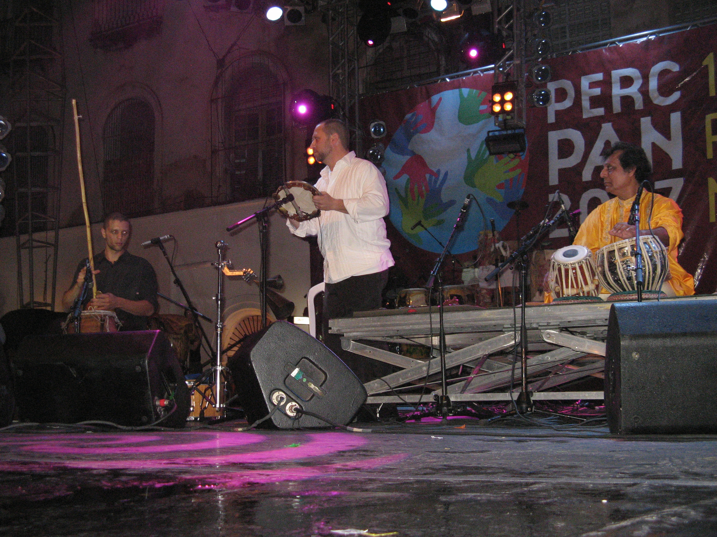 Andrew Grueschow, Randy Gloss, Swapan Chaudhuri in Salvador Bahia at PercPan 14 (5/25/07)