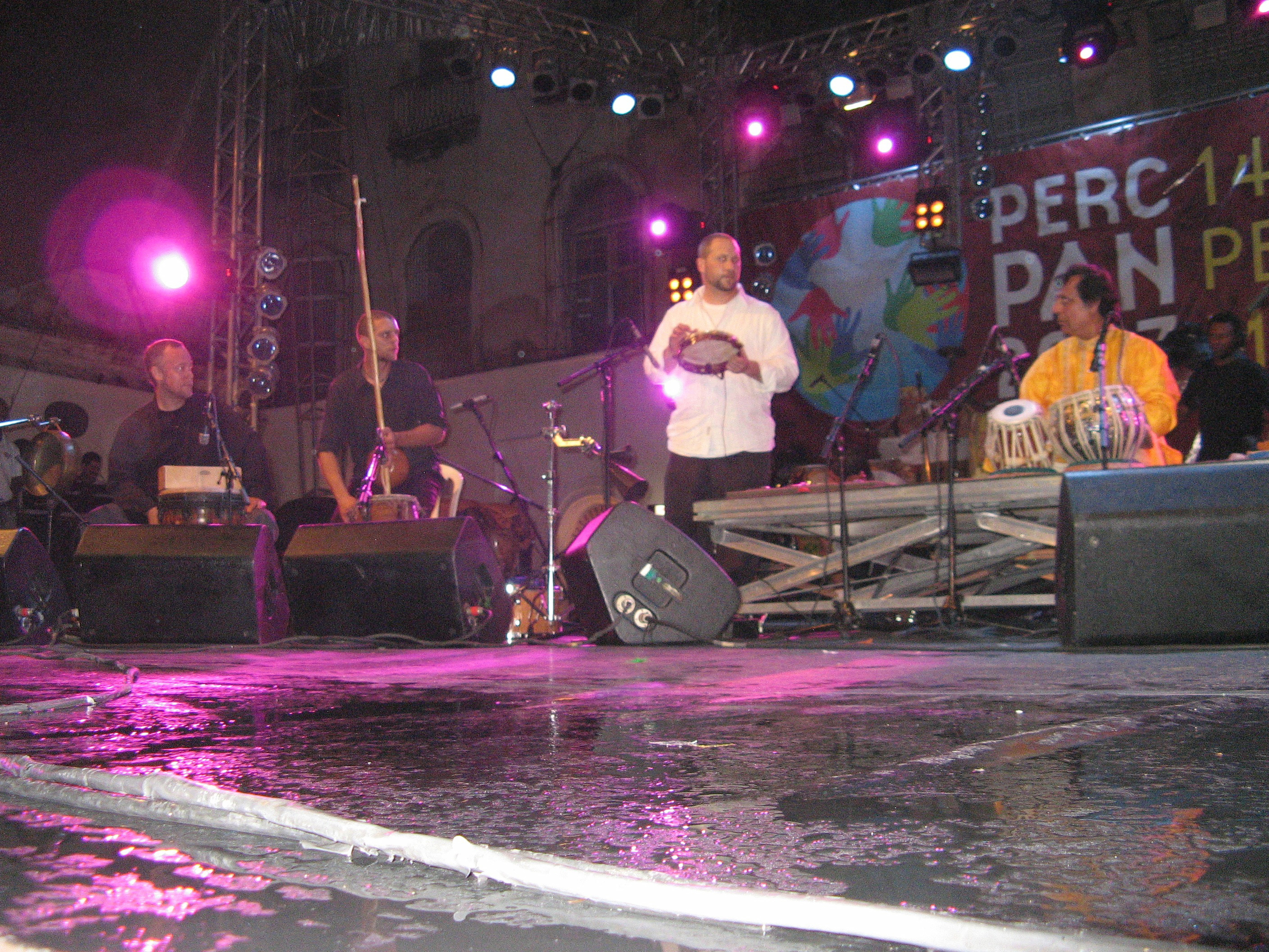 Austin Wrinkle, Andrew Grueschow, Randy Gloss, Swapan Chaudhuri in Salvador Bahia at PercPan 14 (5/25/07)
