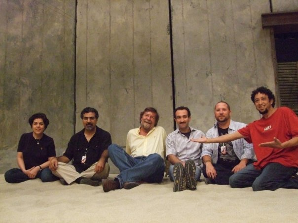 Lian Ensemeble and Nigel Osborne on stage during a rehearsal break from Medea, September 2009.  (L-R: : Pirayeh Pourafar, Houman Pourmehdi, Nigel Osborne, Mani Bolouri, Randy Gloss, Brahim Fribgane).