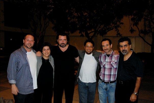 Lian Ensemble with Angus. L-R: Randy Gloss, Pirayeh Pourafar, Angus Macfadyen, Brahim Fribgane, Mani Boulori, Houman Pourmehdi.
