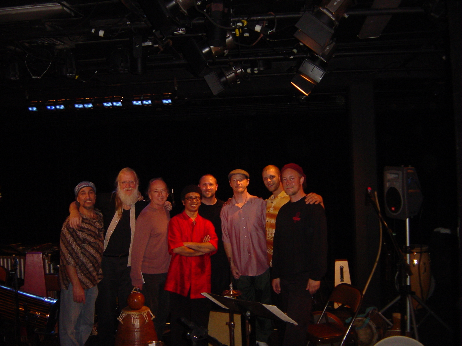 Hands On'Semble with Bramah at the Bathhouse Theatre, Dallas TX. April 17th, 2005.  (L to R:  Jamal Mohammed, Fred Hamilton, Ed Smith, Poovalur Sriji, Randy, Brad Dutz, Andrew Grueschow, Austin Wrinkle.)