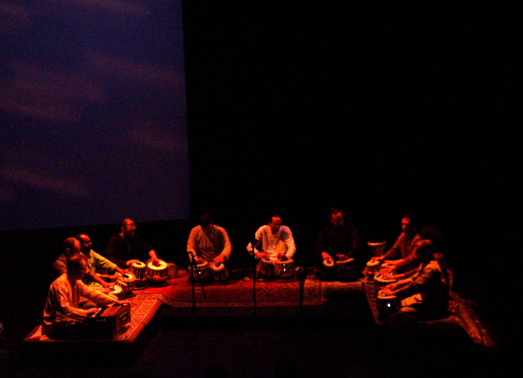 CalArts Tabla Ensemble at REDCAT, Los Angeles, CA. March 11th, 2006.  (L-R: Mike Robbins, T.J. Troy, Robin Sukhadia, Andrew Grueschow, Robert Elston, John Wash IV,  Austin Wrinkle, Frankie Bernstein, Alex Macy, Randy Gloss).