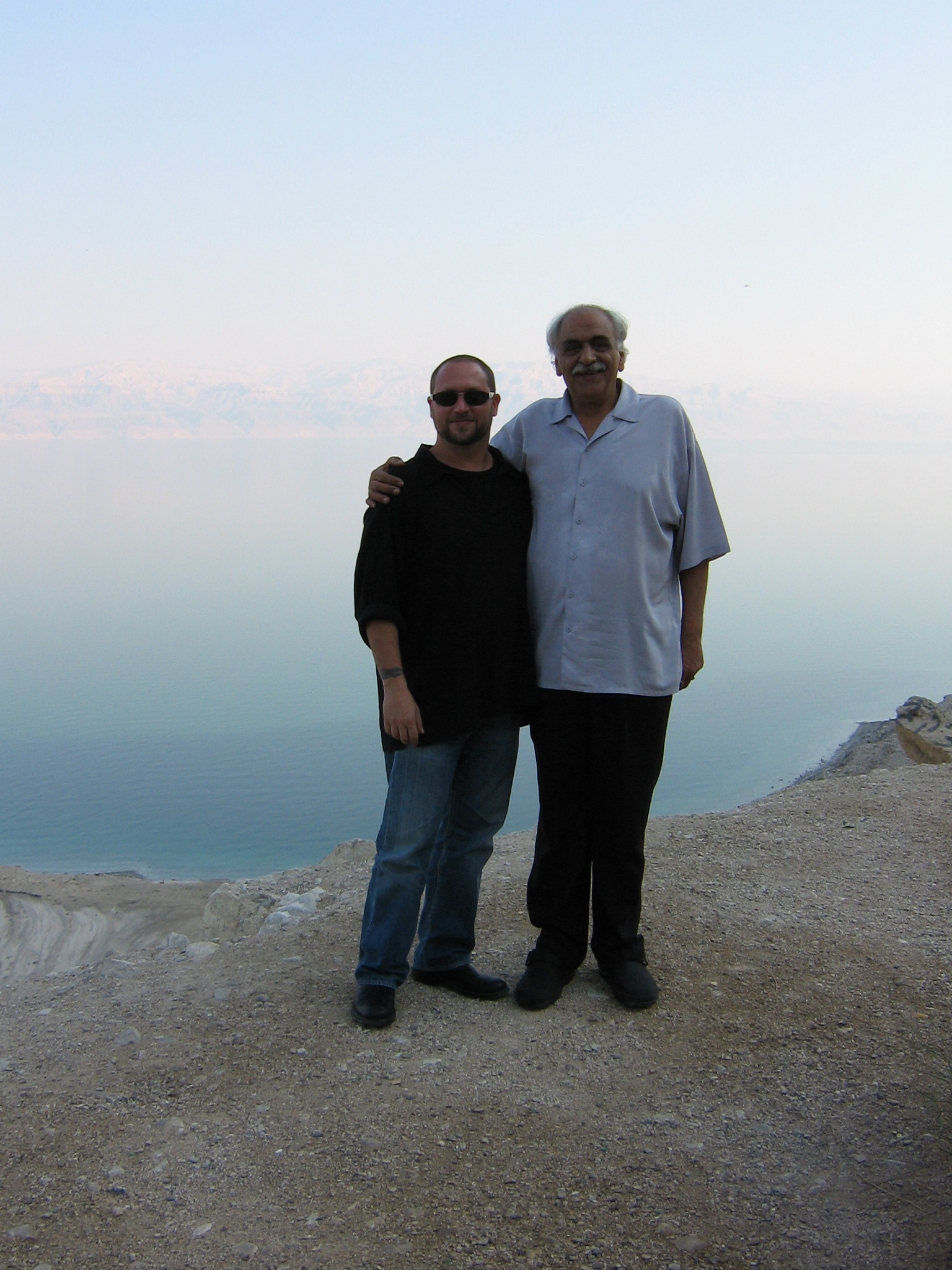 Randy and Soleyman Vaseghi overlooking the Dead Sea.  November 18th, 2006 Israel