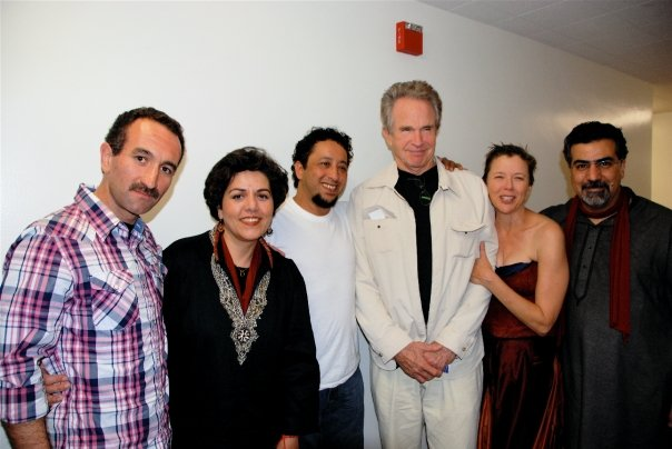 Backstage after Medea, October 2009.    L-R: Mani Boulori, Pirayeh Pourafar, Brahim Fribgane, Warren Beatty, Annette Bening, Houman Pourmehdi.