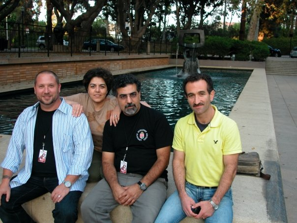 Randy, Pirayeh, Houman, and Mani on a rehearsal break working on Medea.  UCLA, September 2009.
