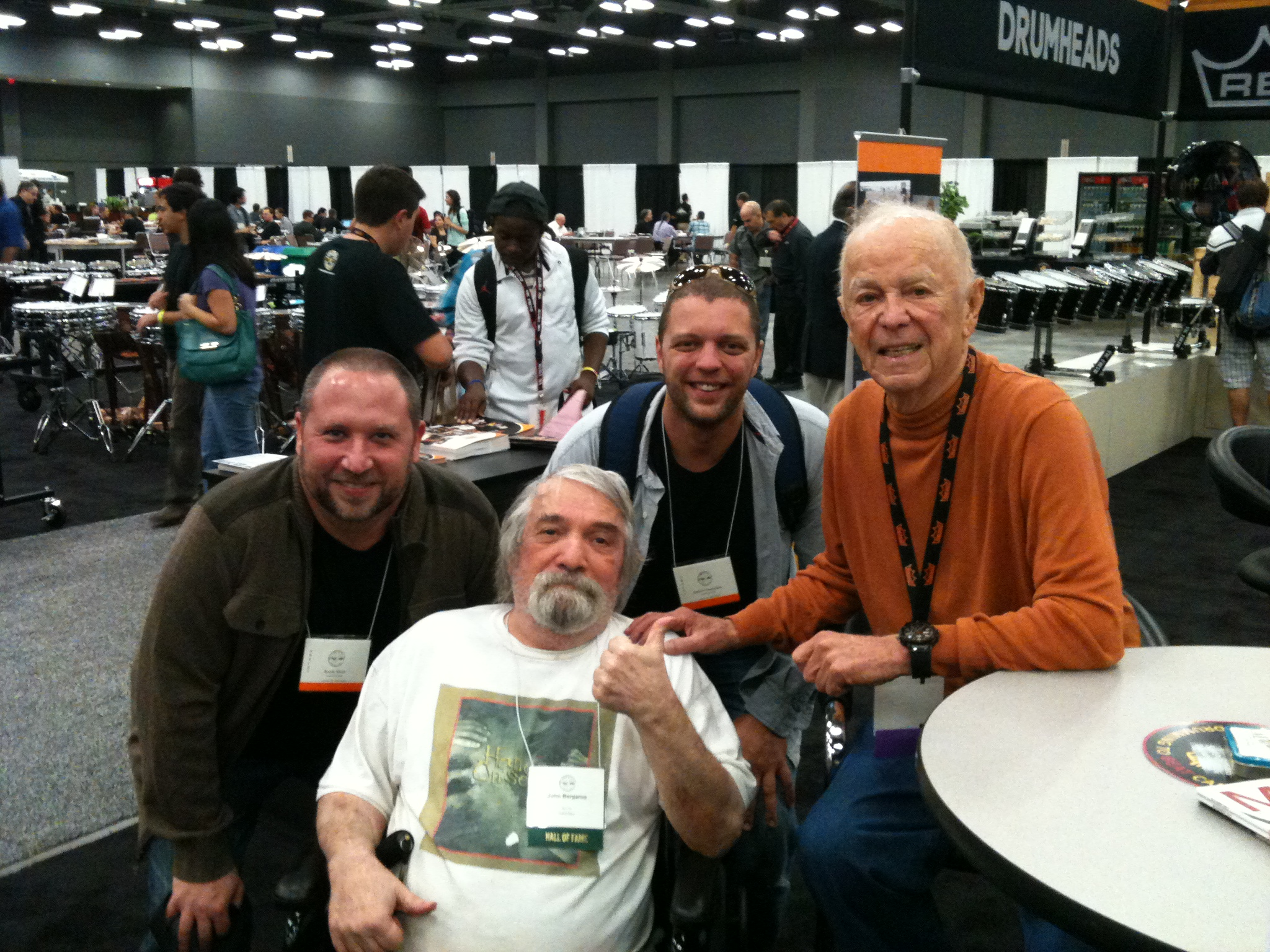 Randy, John Bergamo, Andrew Grueschow, Remo Belli  at PASIC 2012, Austin TX.