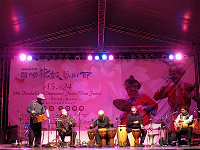 Hands On'Semble in Concert.  (L-R: Andrew, Randy, Adam Rudolph, Austin, Houman Pourmehdi).  Hsin-Chu County International Flower-Drum Festival, Taiwan 2006.