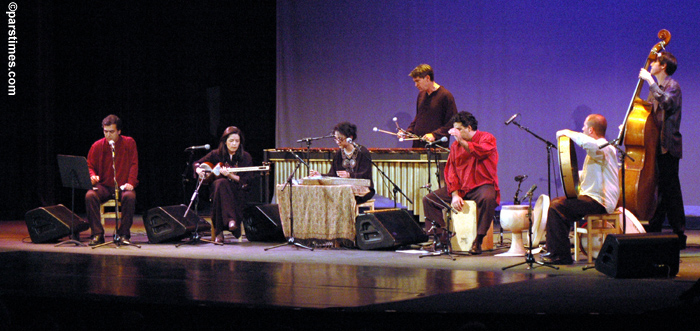 Lian Ensemble concert.  pictured L-R: Bahram Bajelan, Pirayeh Pourafar, Mashid Mirzadeh, David Johnson, Houman Pourmehdi, Randy Gloss, Ivan Johnson.  Wilshire Ebell Theatre, Los Angeles CA 2005.