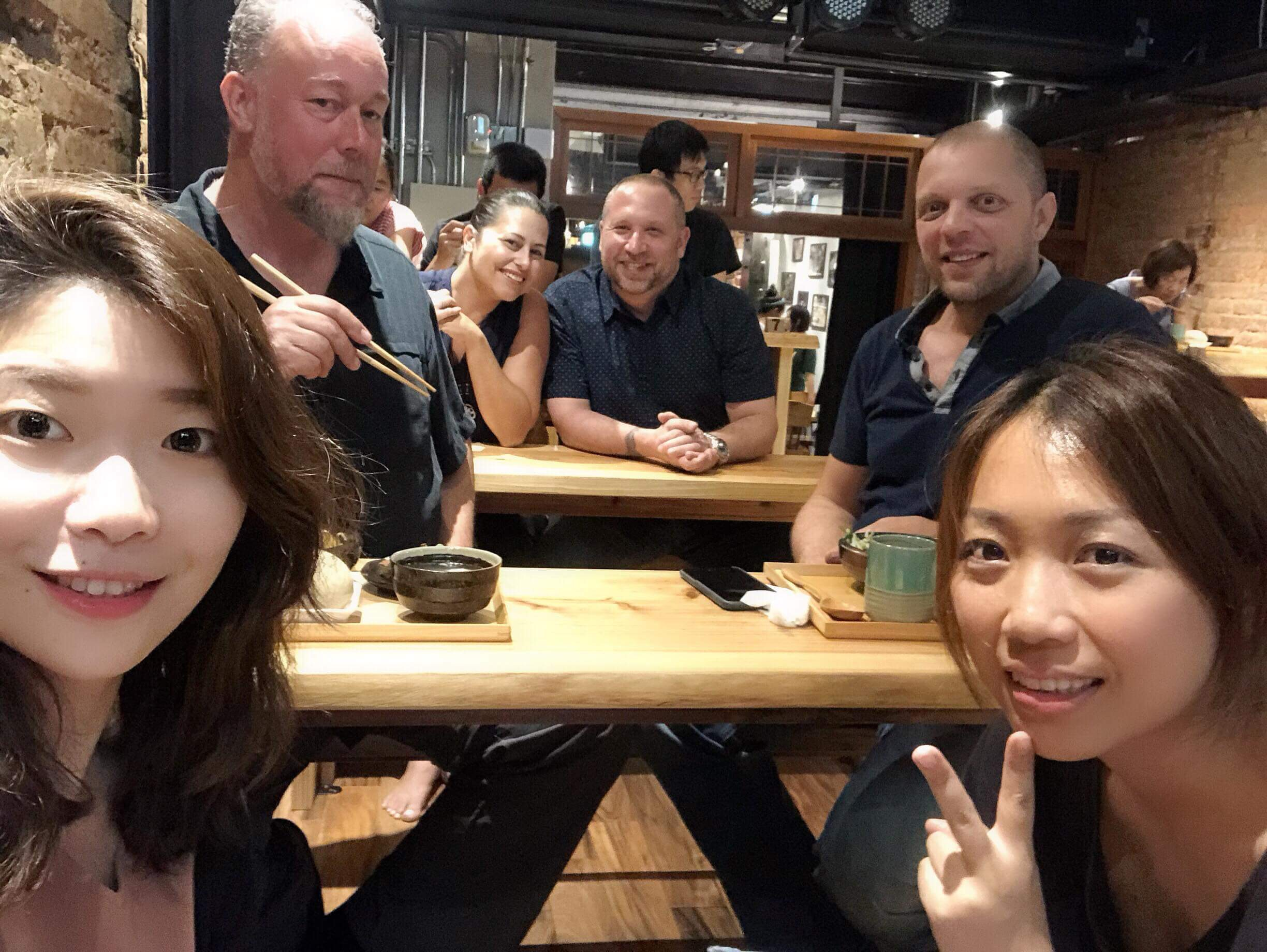 At Ten Drum's new downtown theater having dinner before the show.  L-R: Ching, Austin, Annissa, Randy, Andrew, Sayun.    Tainan Taiwan, August 18th, 2018.