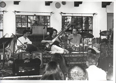 SNEW Ensemble (L-R: Poovalur Sriji, Paul Livingstone, Randy Gloss).  McGroarty Arts Center. Tujunga CA, c.1998-99).