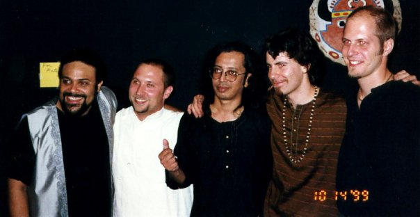Thanjavur (L-R: Pedro Eustache, RG, Poovalur Sriji, Paul Livingstone, John Heitzenrater.  World Festival of Sacred Music, Los Angeles.  10/14/99.