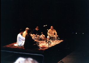 CalArts Tabla Ensemble at the Walt Disney Modular Theater, CalArts. Valencia, CA. March 1999. (L-R: Austin Wrinkle, Jonathan Marmor, John Bergamo, Andrew Grueschow, Randy Gloss).