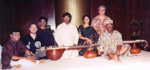 Randy with Chitravina Ravikiran, Alfred Ladzekpo, Jovino Santos Neto, and friends. NCPA (National Center for Performing Arts) Mumbai, India 2001
