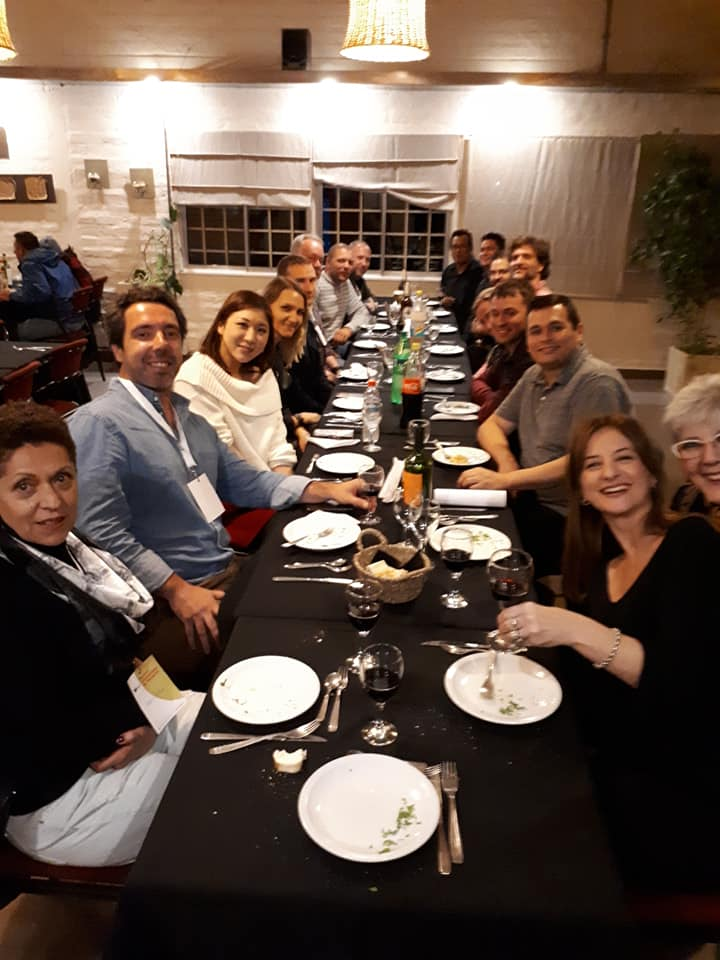 Final dinner together after the closing concert for the Internacional Festival de Percusion, Patagonia. June 29th, 2019.