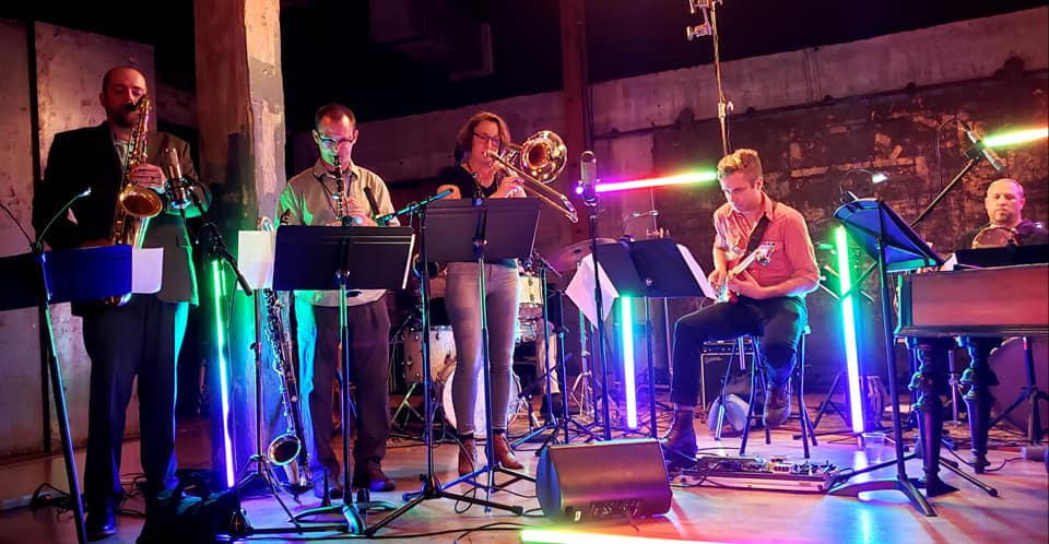 Jon Armstrong presents Juniper Grove at Artshare.  Los Angeles, CA. June 5th, 2019.  Jon Armstrong, Trevor Roitstein-Anderies, Alexander Noice, Juliane Gralle, AJ Fanning, Cory Beers, and Randy Gloss.    photo: Dean Westerfield