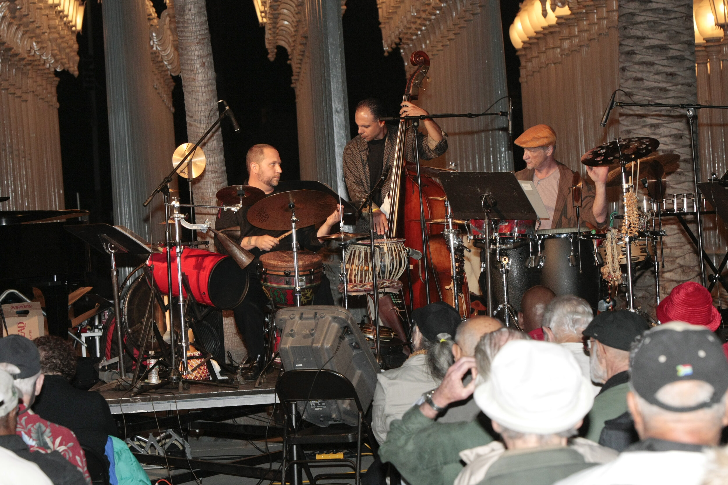 Randy Gloss, Chris Colangelo, Brad Dutz (with Larry Karush).  Angel City Jazz Festival 2011  at LACMA, Los Angeles CA, September 23rd, 2011