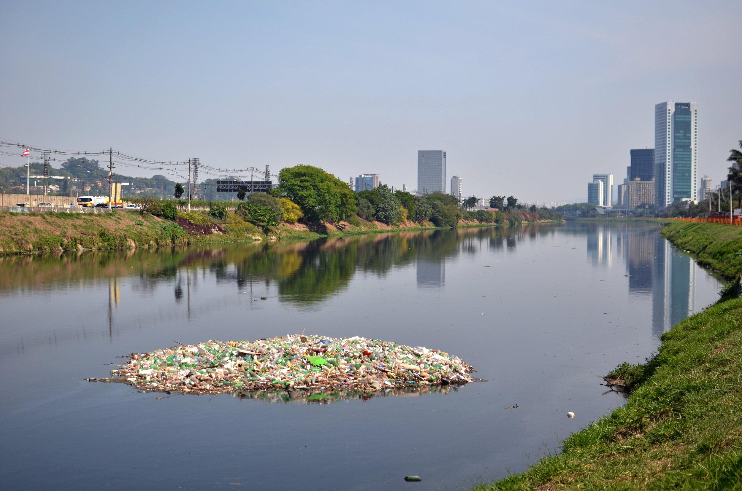 Ilha de lixo no Rip Pinheiros. Foto de Carlos Alkmin.
