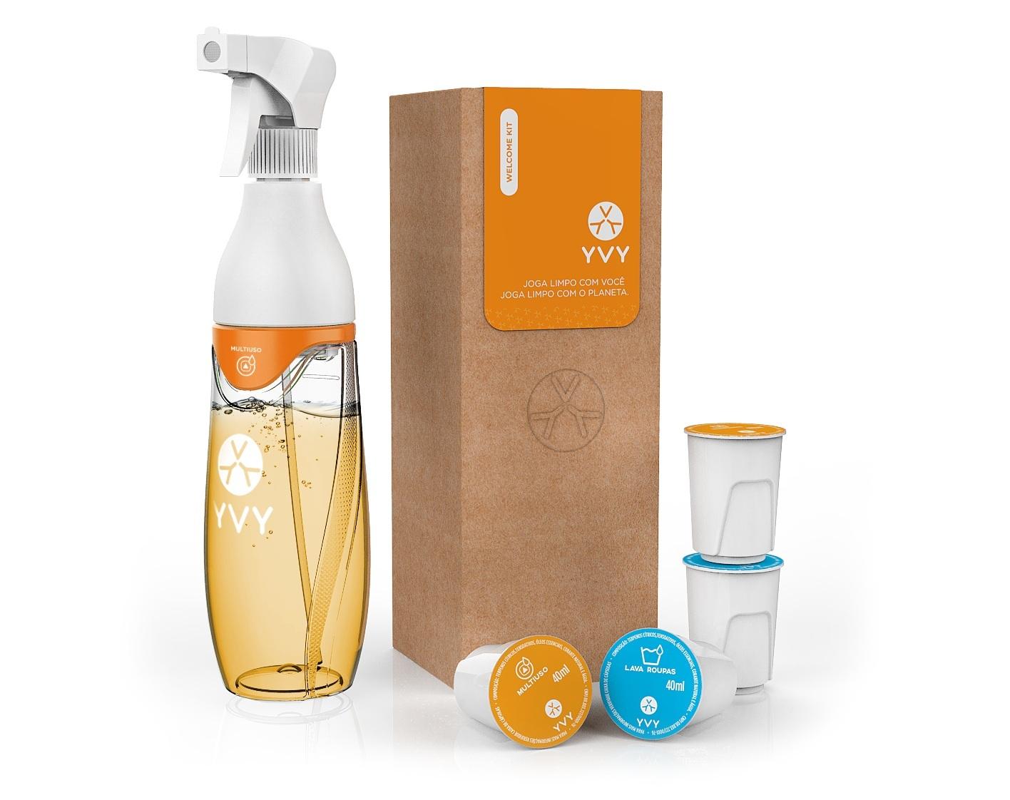 Linha de produtos da YVY: embalagem de uso único e refís recicláveis e retornáveis.