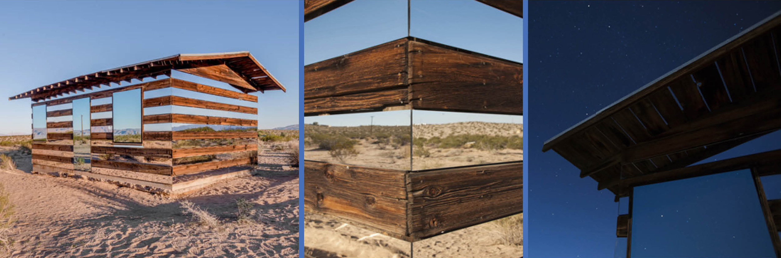 In the desert, which often times has monotonous stretches of repetitive features, camouflage can be powerful tool to blend in without disturbing the landscape. The Lucid Stead installation took and old cabin, which was a noticeable object in the empty landscape, and transformed into a much lighter structure though use of mirrors that reflect the surrounding desert make the cabin appear with a mirage-like quality.