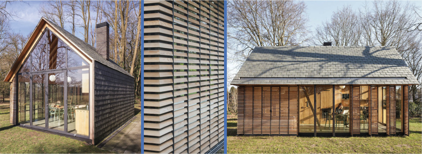 The first is a recreational cabin in Utrecht, Netherland, designed by Zecc Architecten. The form is a traditional gable cabin typology, designed in a modern, open style. The choice of materiality -shake and wood siding – reflect on traditional material choices, but detailed in a very clever way, transforming the siding slats into operable louvers which retract and open up the interiors to the forest.
