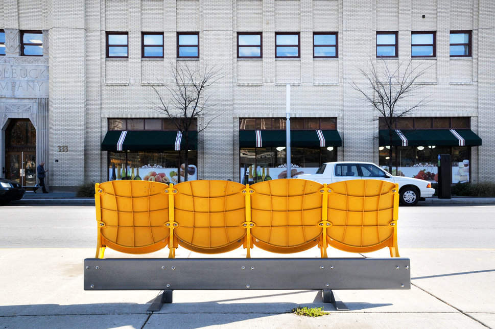 A bus stop built by People for Urban Progress in Indianapolis.