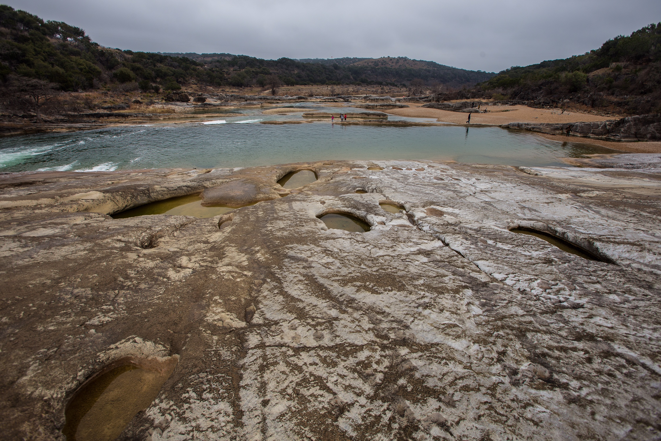 The Pedernales River running over limestone in Pedernales Falls State Park, Texas. Photo by Lizzie Jespersen